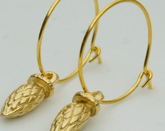 Birdhouse Jewelry - Gold Pinecone Dangles on Hoops