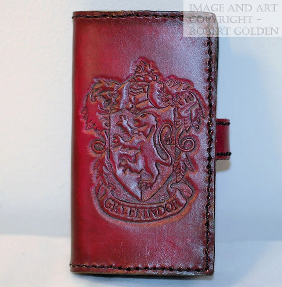 Gryffindor Tooled Leather iPhone 4 case - Harry Potter - Mischief Managed- Clearance Price