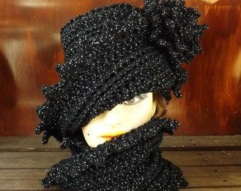 Black Crochet Hat, Womens Hat, Infinity Scarf, Lauren Cloche Hat, Crochet Flower, Black Sparkle Hat Black Crochet Scarf, Hat and Scarf