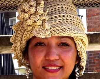 Beige Cloche Hat,  Womens Crochet Hat Womens Hat 1920s,  Bone Beige Hat,  Lauren 1920s Cloche Hat,  Crochet Flower