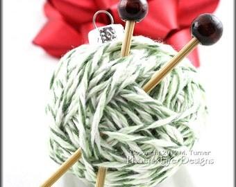 Yarn Ball Ornament, Christmas Tree, Gift Idea for Knitters, Miniature Knitting Needles, Holiday Decor