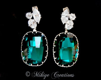 Emerald Green Wedding Earrings - Large Bridal Chandelier Swarovski Crystal Cubic Zirconia Earrings - Charlotta In Emerald