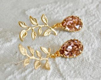 Bridal Party Earrings, Bridesmaid Earrings, Maid Of Honor, Pink Leaf Earrings - Chandelier Swarovski Crystal Cubic Zirconia Drop Earrings