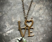 LOVE The World Necklace, verdigris patina, Planet Earth, Heart Valentine's Day Sweetheart Green Peace Environmental Ecology