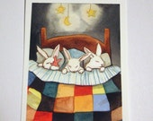 Triplets Tucked In - ACEO Sized Archival Print