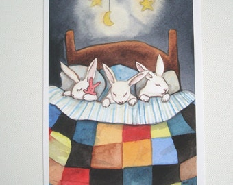Triplets Tucked In - Fine Art Rabbit Print - Bedroom or Nursery Decor