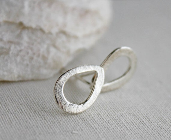 sterling silver earrings, teardrop raindrop, post stud, simple modern minimal jewelry