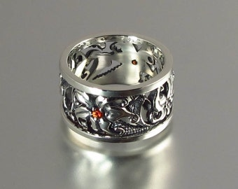 size 7.25 Ready to ship - FLORAL Art Nouveau inspired silver band with pink-orange sapphires