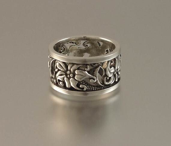 FLORAL Art Nouveau inspired silver band