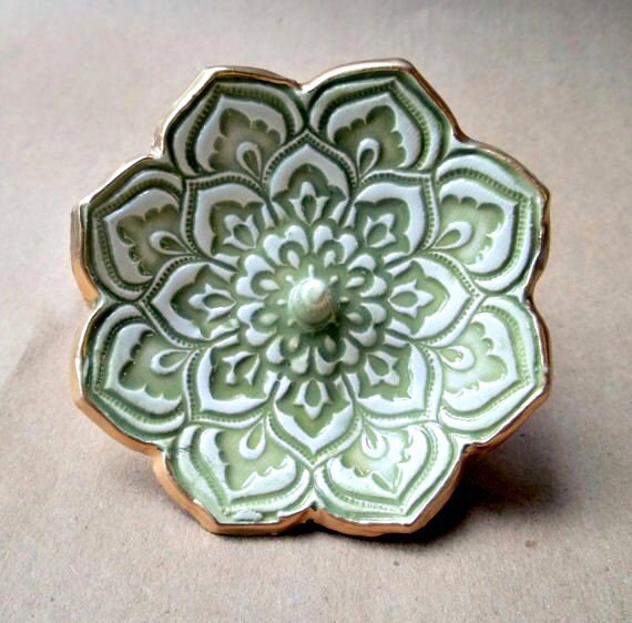 Sage Green Lotus Ring Holder Bowl  gold edged