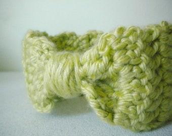 Crochet Headband Bow Style in Spring Green - Winter Earwarmer Headband for baby girl, child, or woman