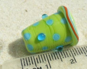 Lampwork Cone, Glass, Pea Green-Aqua, Handmade SRA LETEAM Glassymom