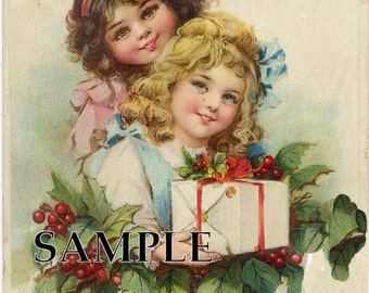 Digital download Instant. Christmas girls gift .postcard image Greeting cards, gift tags,price tags,use in decoupage, collage,scrapbooks