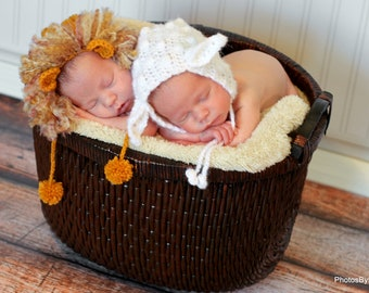 newborn baby twin hats photography prop lion and lamb
