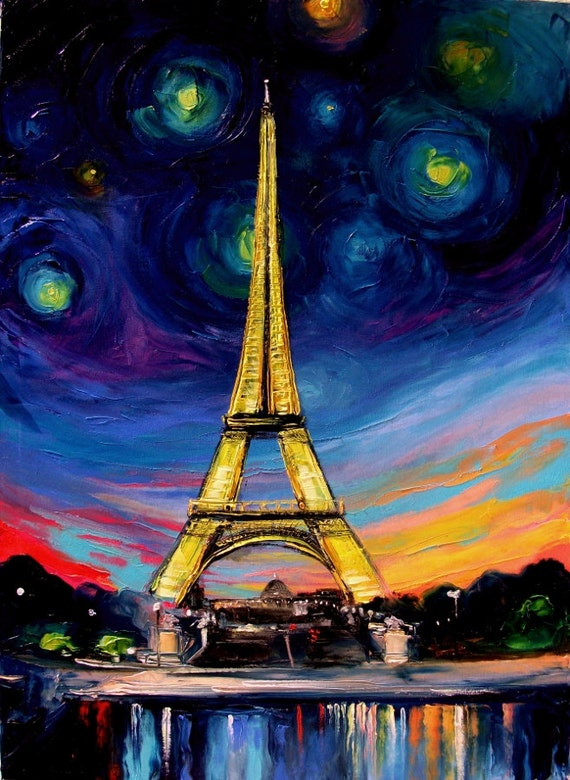 Landscape painting Eiffel Tower art original oil on canvas by Aja 30x40