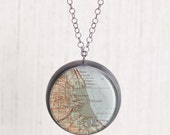 Chicago Antique Map Wanderlust Large Sterling Silver Pendant