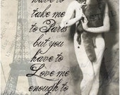 5 X 7 Exotic Vintage Black and White French Nude - Eiffel Tower- Giclée Print