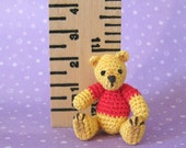 PDF PATTERN - Amigurumi Micro Crochet Tutorial Pattern - Thread Pooh Bear Jointed and Movable