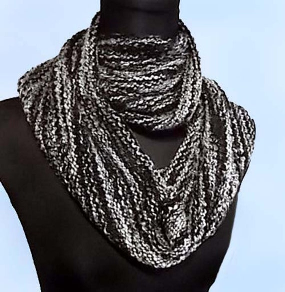 infinity scarf black white nubby woven cotton by