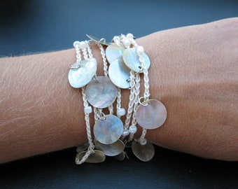 Beaded Crocheted Cuff, Wide Thick Cotton Bracelet in Linen with Shell beads