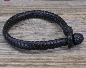 12 Strand Oval Braid Leather Bracelet