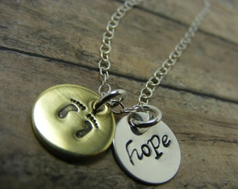 Mommy necklace-sterling silver-handstamped necklace-baby feet-hope
