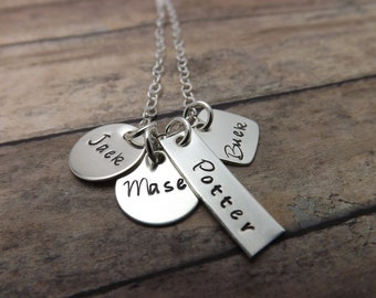 Mommy necklace- Personalized necklace -handstamped jewelry-sterling silver-four charms Mom's necklace