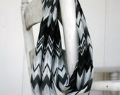 Infinity Scarf circle scarf  in Black gray white Chevron
