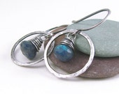 Blue Labradorite Earrings Oxidized Sterling Silver Hammered Fine Silver Hoops Wire Wrapped Rustic Jewelry