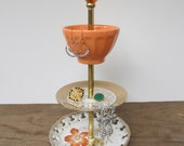 peach gold 3 tier vintage jewelry stand