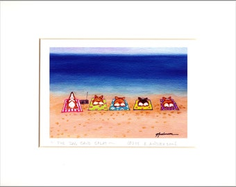 "Evie Anderson Pembroke Welsh Corgi Dog Art SIGNED PRINT ""Five Dog Sand Splat""  ( signed, matted)"