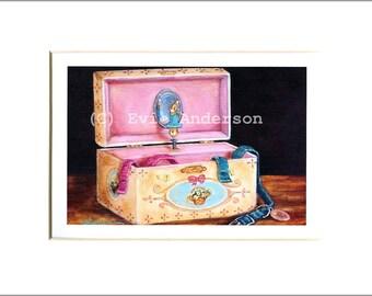 "Evie Anderson Pembroke Welsh Corgi Art SIGNED PRINT ""Corgi Ballerina Box""  (signed, matted)"