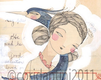 whimsical watercolor painting of a girl and a bird - heron - 8 x 8 - blue - limited edition archival print by cori dantini