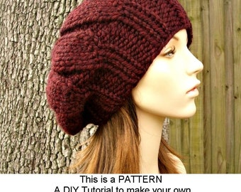 Instant Download Knitting Pattern - Knit Hat Knitting Pattern - Knit Hat Pattern for Urchin Beret Hat - Womens Hat - Womens Accessories
