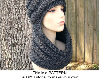 Instant Download Knitting Pattern - Knit Hat Knitting Pattern Chunky Scarf - Knit Hat Pattern for Zhivago Cowl Scarf Hat - Womens Hat Womens