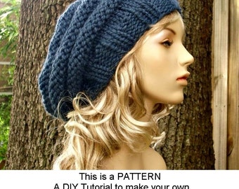 Instant Download Knitting Pattern - Knit Hat Pattern Original and Oversized Beehive Beret Pattern - Womens Hat Pattern - Womens