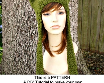 Instant Download Knitting Pattern - Knit Hat Knitting Pattern - Knit Hat Pattern for Ear Flap Cat Hat - Womens Hat - Womens Accessories