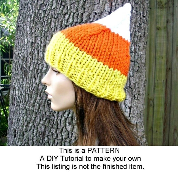 Instant Download Knitting Pattern - Knit Hat Knitting Pattern - Knit Hat Pattern for Halloween Candy Corn Hat - Womens Accessories