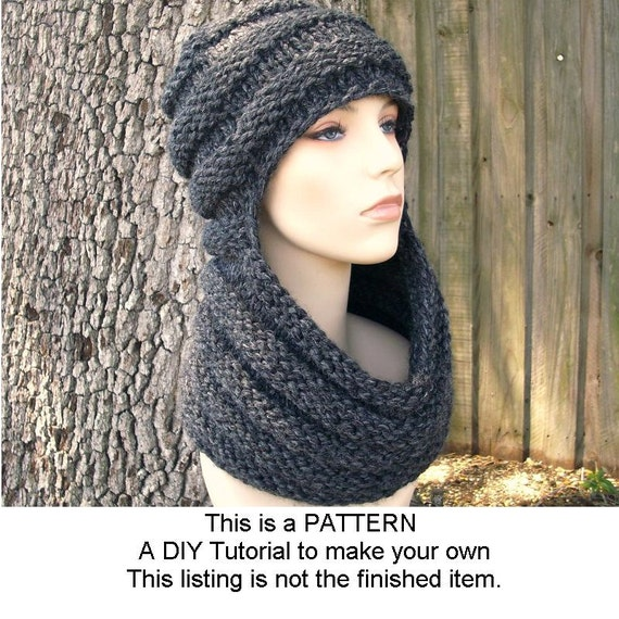 Scarf Hat Knitting Pattern : Instant Download Knitting Pattern Knit Hat Knitting Pattern