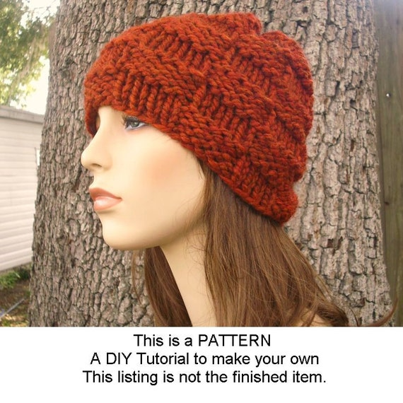 Instant Download Knitting Pattern - Knit Hat Pattern - Basket Weave Beanie Pattern - Mens Beanie Pattern - Womens Accessories
