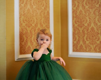 Emerald Flower Girl Dress