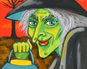 Spooky Luminary Green Witch Original Halloween ACEO Miniature Painting EHAG