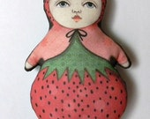 Anthropomorphic Strawberry Ornament- Original Folk Art Doll- Printed and Stuffed Fabric
