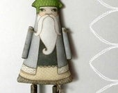 Woodland Santa Christmas Tree Ornament-- Original Folk Art Doll-- Printed and Stuffed Fabric