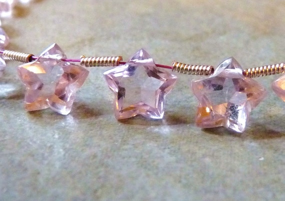 AAA Pink Amethyst Faceted Star Shaped Designer Briolettes - 9mm - Matched Pair