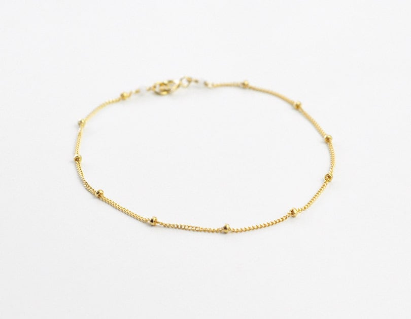Dotted chain bracelet delicate gold chain bracelet gold by edor