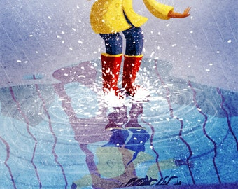 "Rainy Day Painting, Rain boots art, Rain lover print, San Francisco Art, Wall Art - ""Puddle Pounce"""