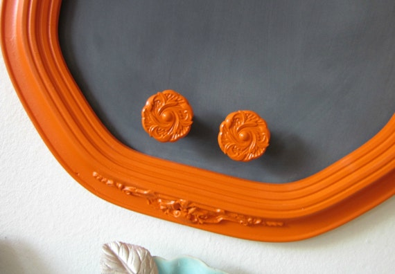 Chalkboard, Magnetic Chalkboard, Memo Board, Vintage Ornate Frame ORANGE