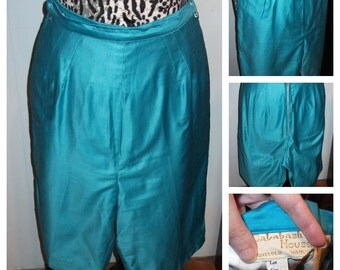 1950's Turquoise Cotton Sateen Pedal Pushers/Clam Diggers - S/M