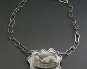 Agate Metalwork Necklace Rustic Oxidized Sterling Silver Natural Stone Jewelry